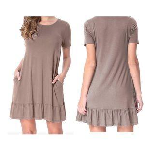 Dresses & Skirts - Brown Short Sleeve Draped Hemline Shirt Dress